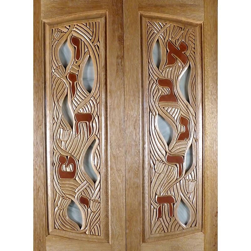 ten utterances torah ark carved wood doors