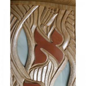 ten utterances torah ark carving and copper letter detail