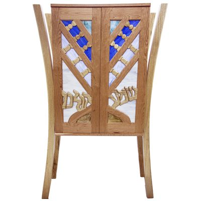 aron kodesh with menorah carved wood doors and stained glass shema kolenu