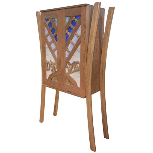 aron kodesh with menorah carved wood doors and stained glass