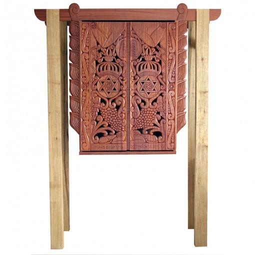 Mishkan Inspired torah ark with wood carving