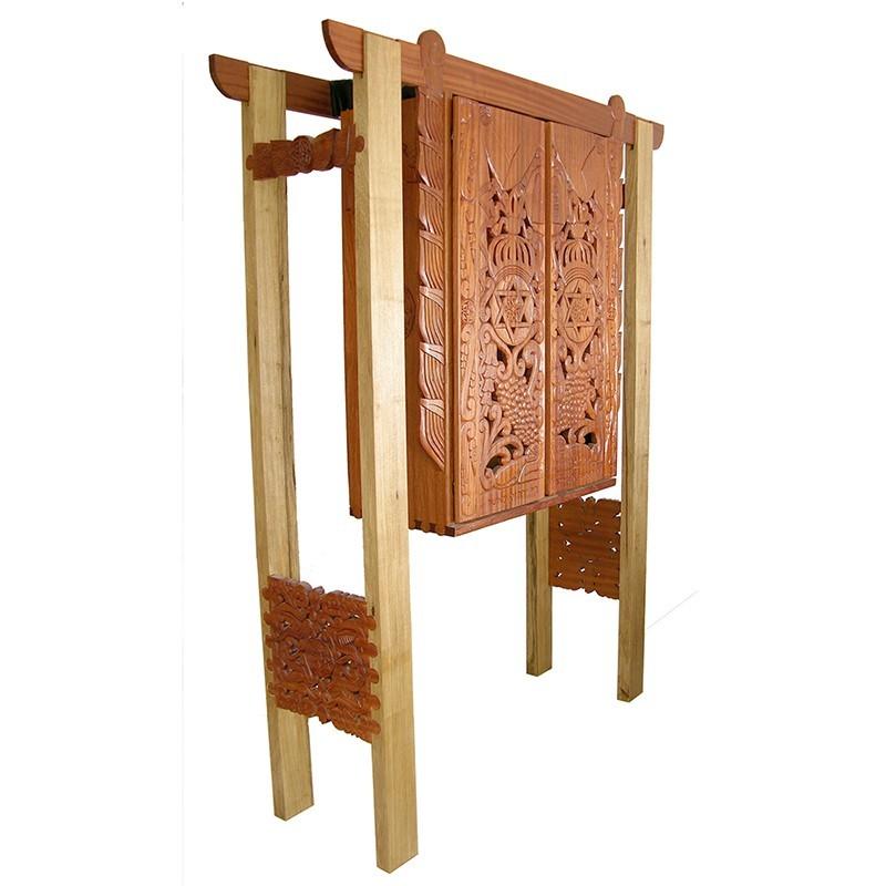 Mishkan Inspired torah ark with mahogany carving