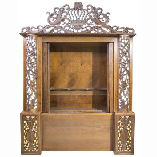 handcarved aron kodesh with stained glass wood doors open
