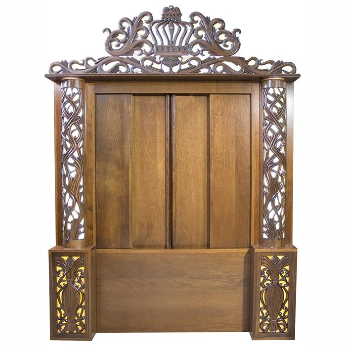 handcarved aron kodesh with stained glass sliding doors