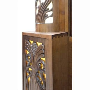 handcarved aron kodesh with stained glass and dovetail joinery