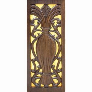 handcarved aron kodesh with golden stained glass