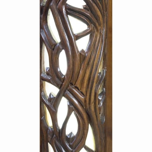 handcarved aron kodesh with stained glass inlays