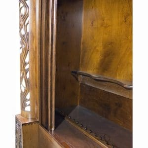 handcarved aron kodesh with stained glass inside