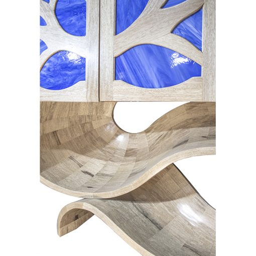 stained glass curved base aron kodesh
