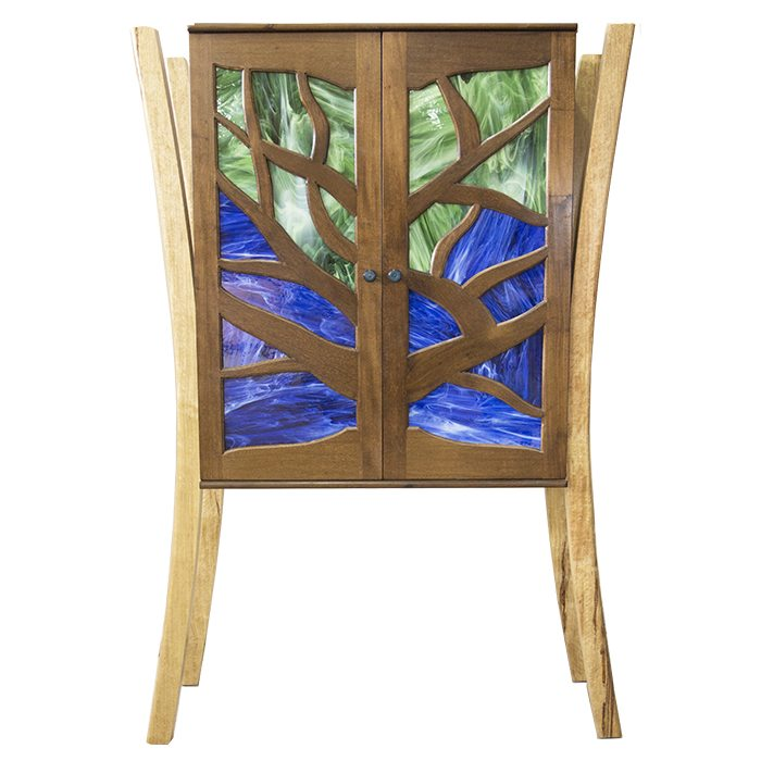 hanging mishkan tree of life aron kodesh with stained glass inset