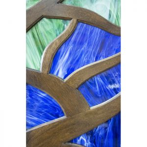 tree of life aron kodesh with stained glass inset close up