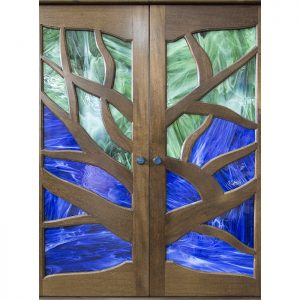tree of life aron kodesh with stained glass doors