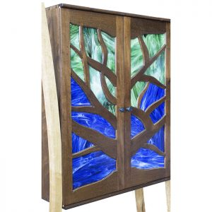 tree of life aron kodesh with stained glass inset solid wood dovetails