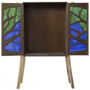 tree of life aron kodesh with stained glass inset doors open