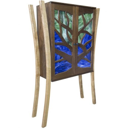 tree of life aron kodesh with stained glass inset hanging