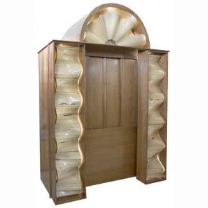 aron kodesh with carved waves
