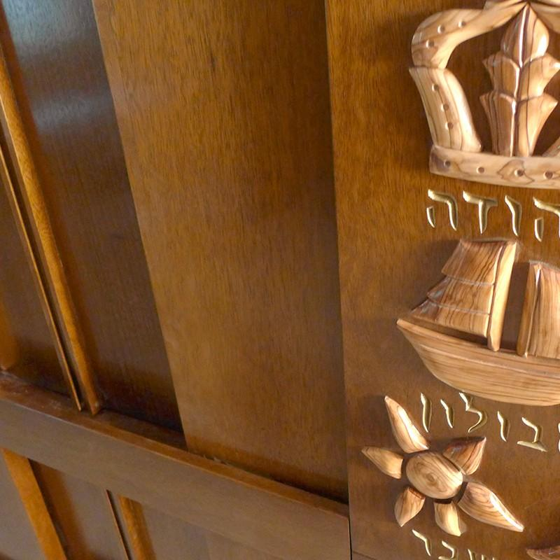 westchester torah ark with details of carving