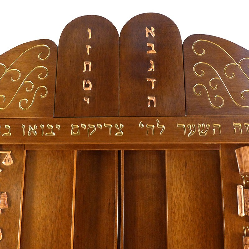 westchester torah ark with 10 commandments crown