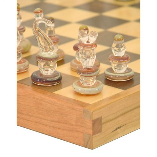 hardwood chess table and glass chess pieces