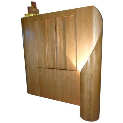 contemporary torah ark with lit scroll curves
