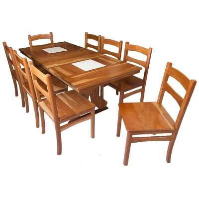 Cherry wood dining table set with chairs and tile inlays