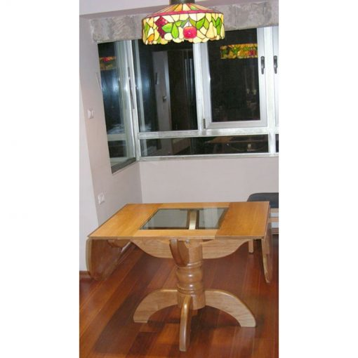 pedestal cherry wood dining table folding sides