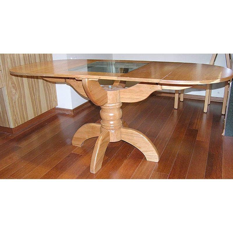 Pedestal style solid wood dining table bass furniture for Pedestal dining table and chairs