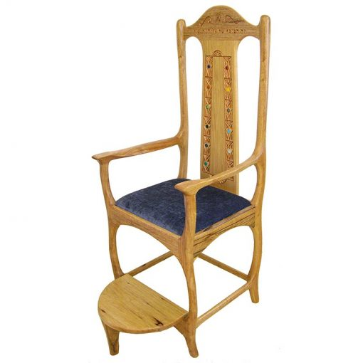 solid wood kise shel eliyahu with carving and contemporary design with blue upholstery