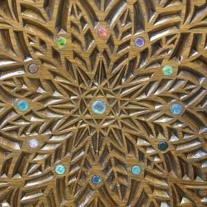 chair of elijahu hanavi detail carving and twelve tribes glass inlays