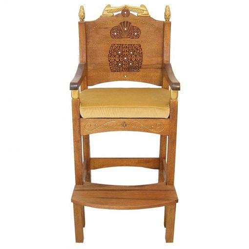 traditional solid wood elijah's chair with carving and gold cherubim