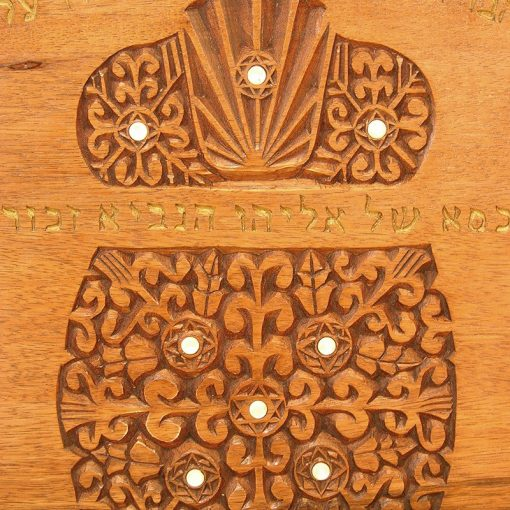 details of carving and abalone inlay traditional solid wood elijah's chair with gold cherubim