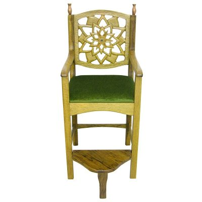 Light wood kise eliyahu with upholstered seat and hand carving