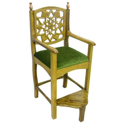 Wood chair for brit milah in light wood and deep carving