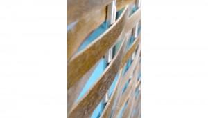 wood and metal mechitza weaves