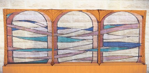custom mechitza panels with stained glass design with carving detail