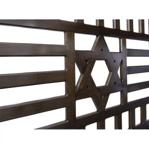 wood portable mechitza with star of david lattice pattern detailed close up