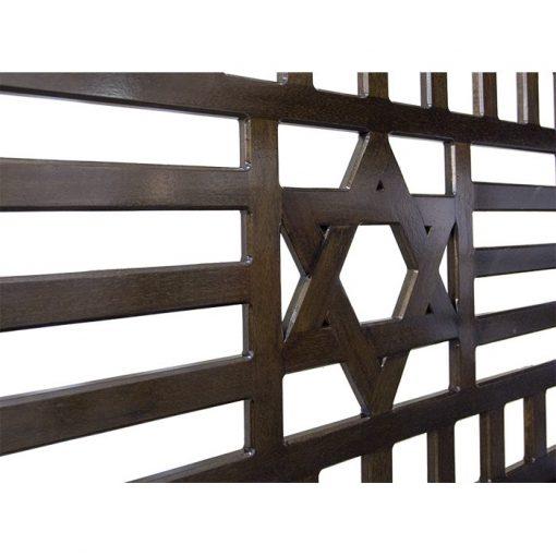 wood portable mechitza with star of david lattice pattern detailed close up