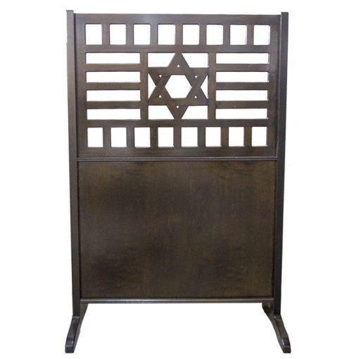 wood portable mechitza with star of david lattice pattern