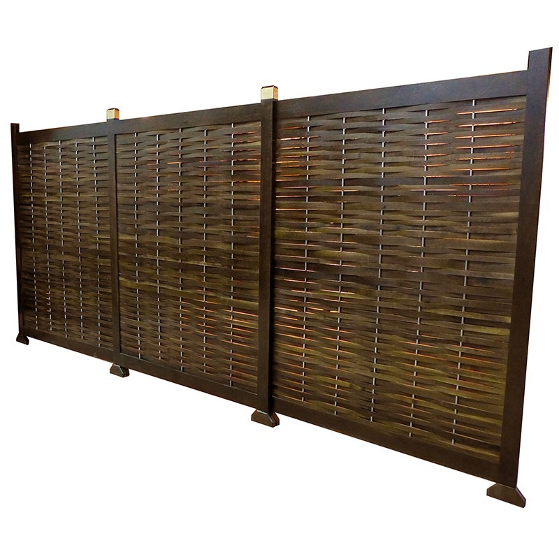 woven mechitza panel from solid wood and stainless steel