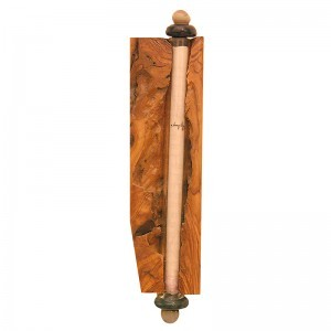 natural olive wood mizuzah with glass
