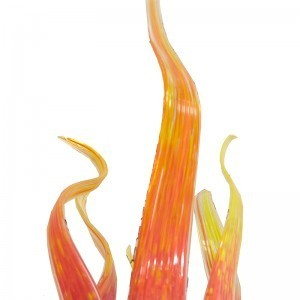 custom made Wood and Glass ner tamid blown glass detail