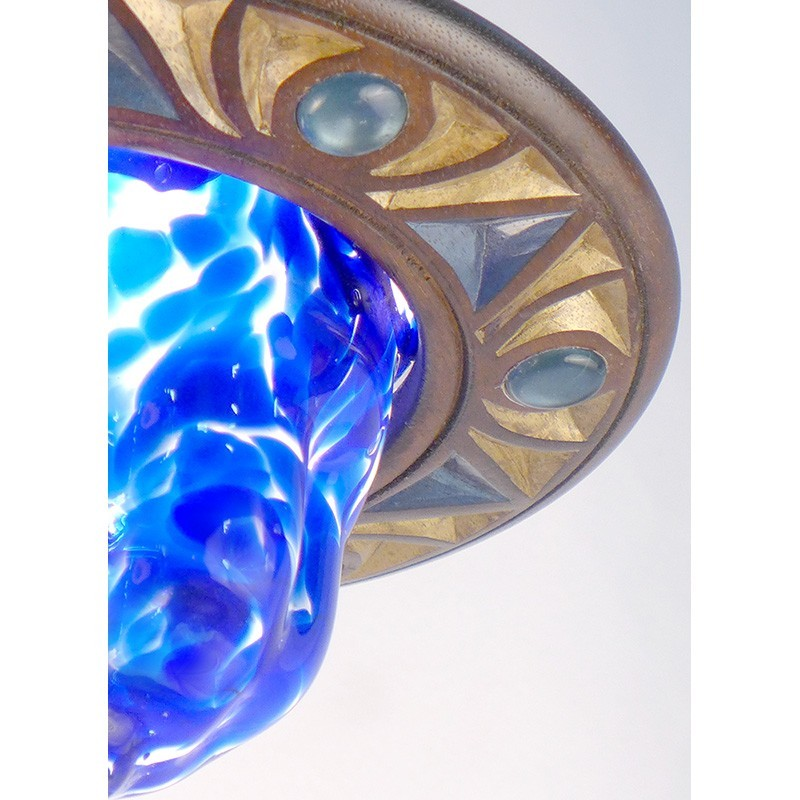 detail of star of david blue blown glass ner tamid