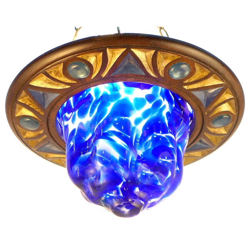 star of david blue blown glass eternal iight for synagogue with low celing
