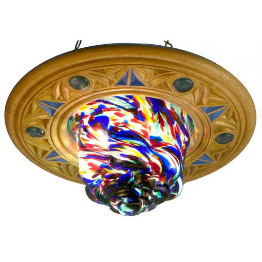 hand-blown eternal light with carving and glass inlays