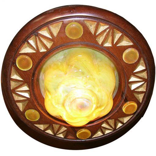 blown gold glass eternal light with magen david