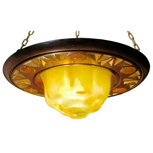 hanging ner tamid with gold blown glass eternal light