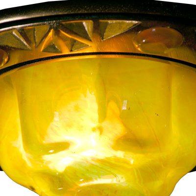 details of gold blown glass for eternal light ner tamid