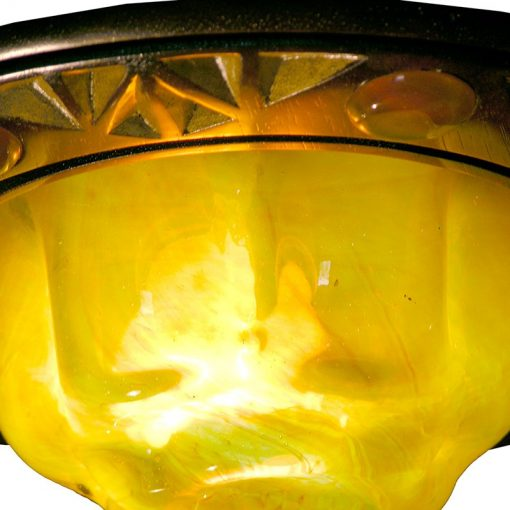 details of gold blown glass for eternal light ner tamid