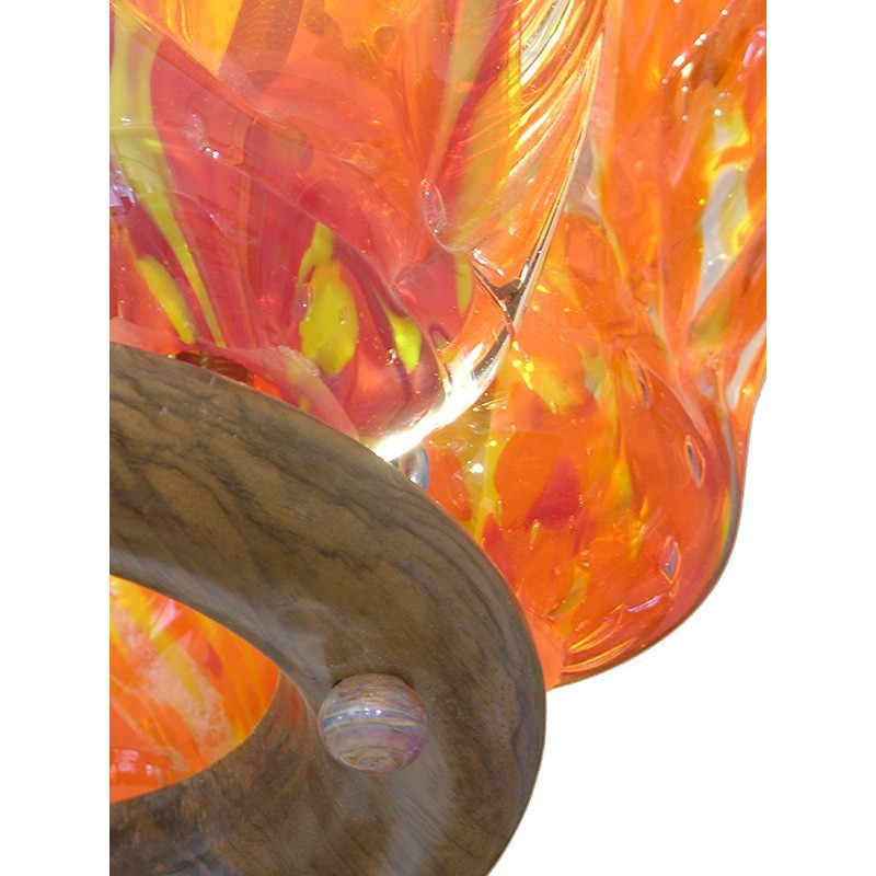 Hollow flame glass blown ner tamid wood base and glass