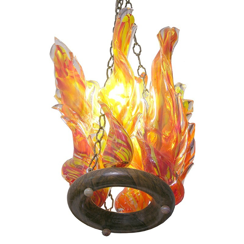 Hollow flame glass blown ner tamid